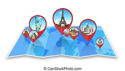 karta, värld, minnesmärkena