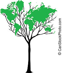 karta, värld, träd