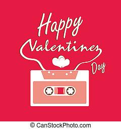 karta, valentines dzień, taśmy, dźwiękowy
