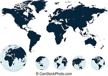 karta, vector., värld