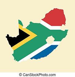 karta, vektor, afrika, syd