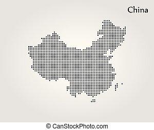karta, vektor, china., illustration., värld