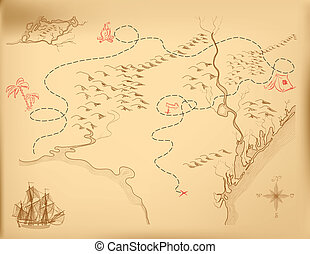 karta, vektor, gammal