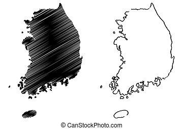 karta, vektor, sydkorea