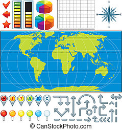 karta, vektor, utrustning