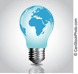karta, vektor, värld, lightbulb