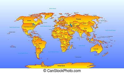 karta, vektor, värld