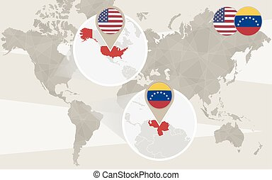karta, venezuela, zoom, värld, usa