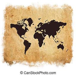 karta, vit, grunge, isolerat, värld