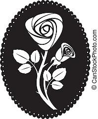 karta, wektor, róża