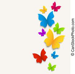 karta, wiosna, motyle, skład, barwny