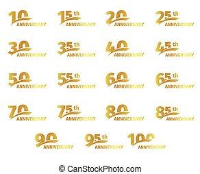 karta, złoty, komplet, illustration., powitanie, ikony, kolor, odizolowany, urodziny, rocznica, tło, wektor, zbiór, biały, elementy, takty muzyczne