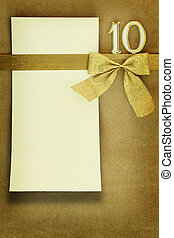 karta, złoty, rocznica, tło