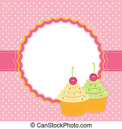 karta, z, cupcakes.