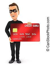 karte, 3d, stehende , dieb, kredit