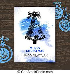 karte, abbildung, hand, aquarell, gezeichnet, weihnachten