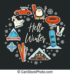 karte, aktive, jahreszeiten, sport, hallo, winter,...