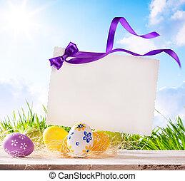 karte, eier, kunst, gruß, ostern