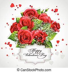 karte, für, valentinestag, herz, von, rote rosen