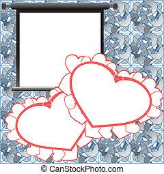 karte, foto, valentine, hintergrund, rahmen, feiertag, rotes