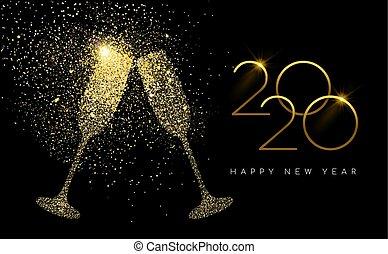 karte, gold, glitzer, jahr, neu , champagner, 2020, toast