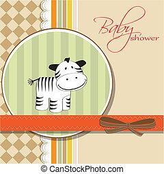 karte, gruß, zebra, kindisch