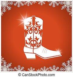 karte, hintergrund, amerikanische weihnacht, stiefel, cowboy, rotes