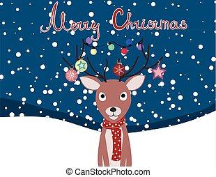 karte, hirsch, vektor, weihnachten, abbildung