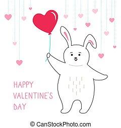 karte, luft, valentines, coney, karikatur, kanninchen
