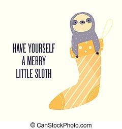karte, lustiges, weihnachten, fröhlich, faultier