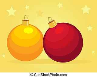 karte, mit, karikatur, weihnachten, kugeln