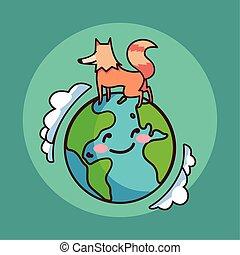 karte, planet erde, fuchs, lächeln