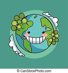 karte, planet erde, kawaii, lächeln