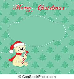 karte, polar, wenig, weihnachten, bär