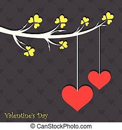 karte, reizend, vögel, abbildung, valentine
