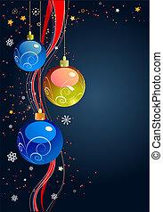 karte, scheinen, neu , -, kugeln, feiertag, weihnachten, jahr