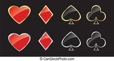 karte, symbole, in, goldenes, und, silberner f