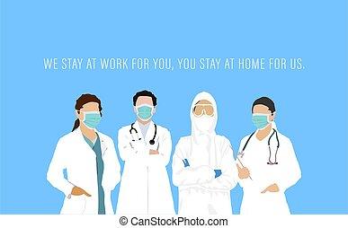 karte, tag, welt, doktoren, krankenschwestern, stehende , ...