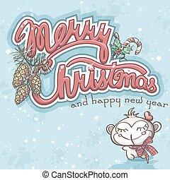karte, weihnachten, affe, fröhlich, gruß