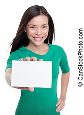 karte, zeichen., unternehmerin, asiatisch, beiläufig, copyspace, text, weißes, ausstellung, besitz, leer, papier, glücklich, werbung, m�dchen, junger