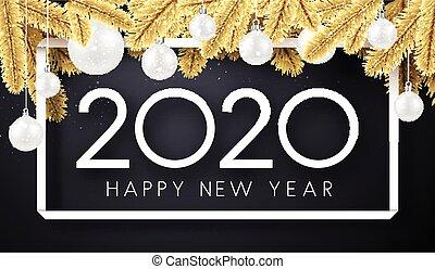 karte, zweige, glücklich, jahr, neu , weihnachten, 2020, ...