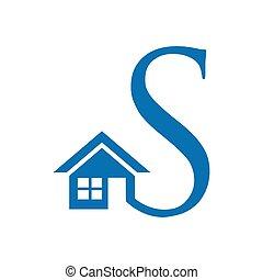 kartele, dom, i, litera s, abstrakcyjny, houses., illustration, w, wektor, format
