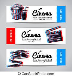 karten, banners., kino, filmsatz, fest