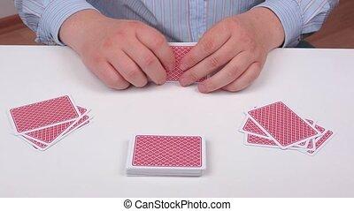 karten, feuerhaken, spielende , hand