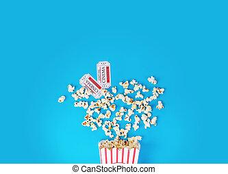 karten, film, wischeimer, zwei, popcorn, weiß rot