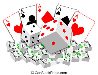 karten, geld, würfelt, abbildung, gluecksspiel