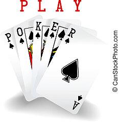 karten, gewinnen, feuerhaken, spielende , hand