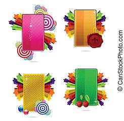 karten, glas, satz, gefärbt, kreativ