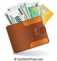 karten, kredit, dollar, geldbeutel
