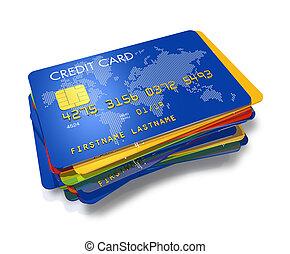 karten, kredit, multi gefärbt, stapel